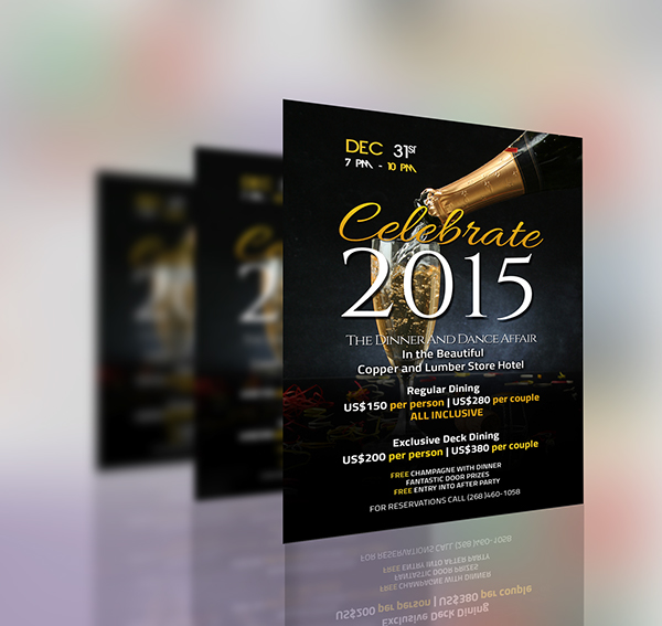 christmas and new years eve party flyer menu designs on behance