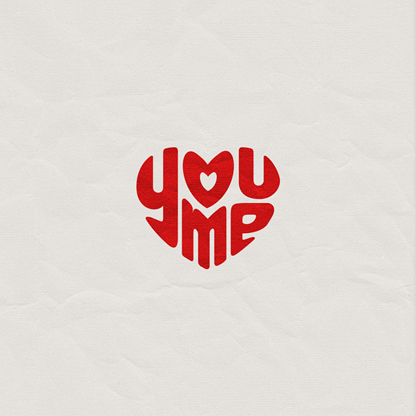 You me Love typographyart design brand poster heart simple graphics