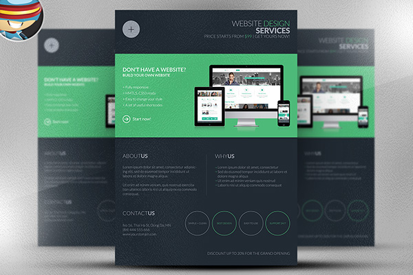 Dark Web Design Services Flyer Template On Behance