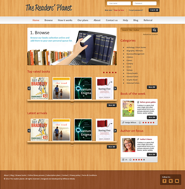 Website Design For An Online Library Management System On