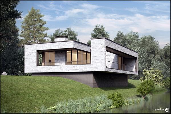 Modern forest house in ukraine on behance for Modern forest house design