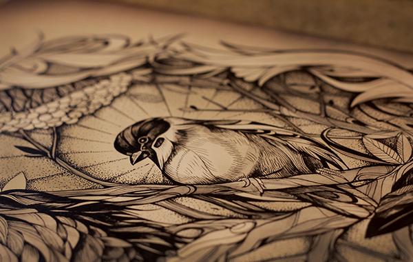 ink dotwork birds crow pen