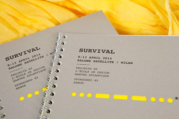 Exhibition  exposition visual identity identité visuelle design Sos morse survival yellow forme de découpe evenement Event cut