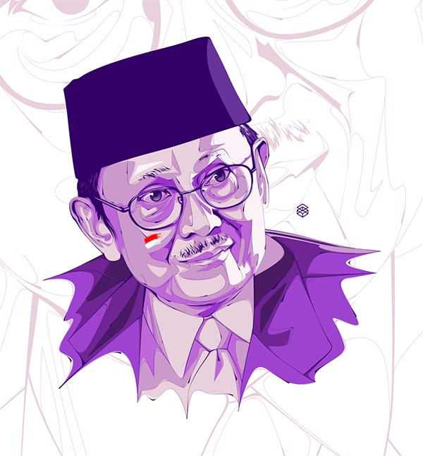 BJ Habibie, tracing, illustration