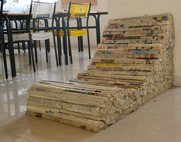 recycled paper furniture. i recycled newspaper to make an easy chair for users which mostly comprise of college students a small study amoungst collegues suggested the requirement paper furniture
