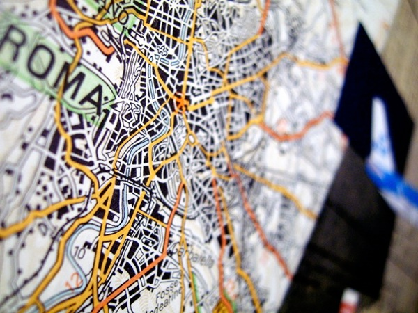 collage Travel paper maps