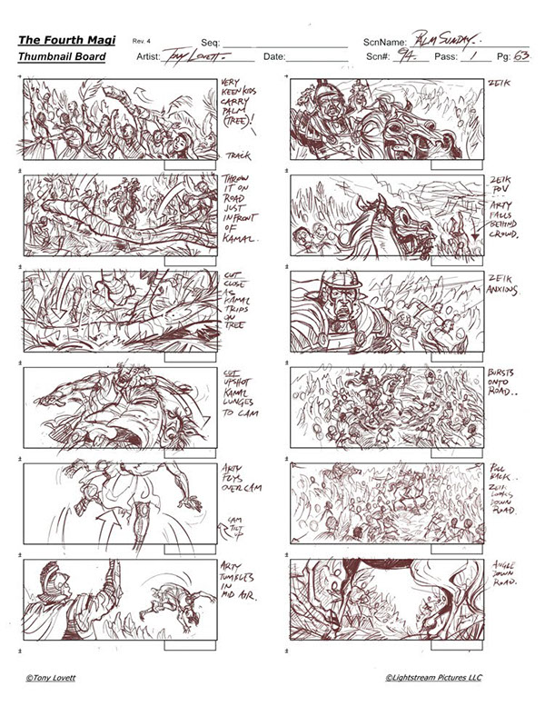 Film Storyboard - Thumbnails On Wacom Gallery
