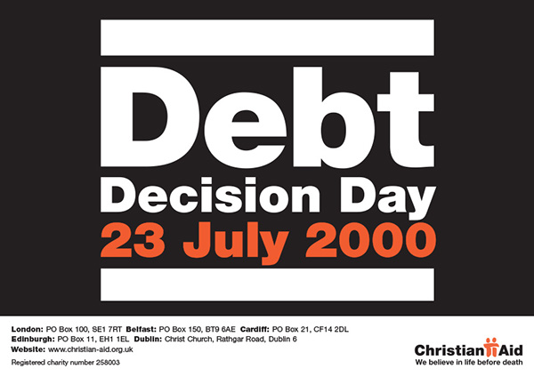 Christian Aid campaign Debt dyled Jubilee 2000 Third World charity Aid