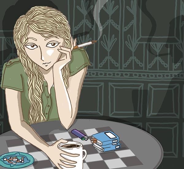 Coffee cigarettes girl smoking