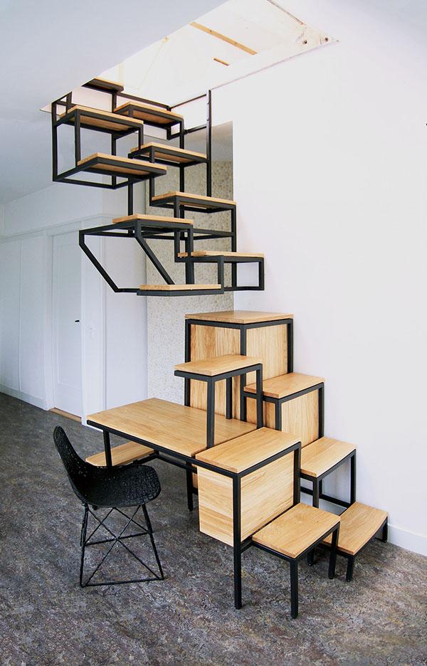 Staircase desk furniture design multifunctional Objet élevé mieke meijer studio mieke meijer