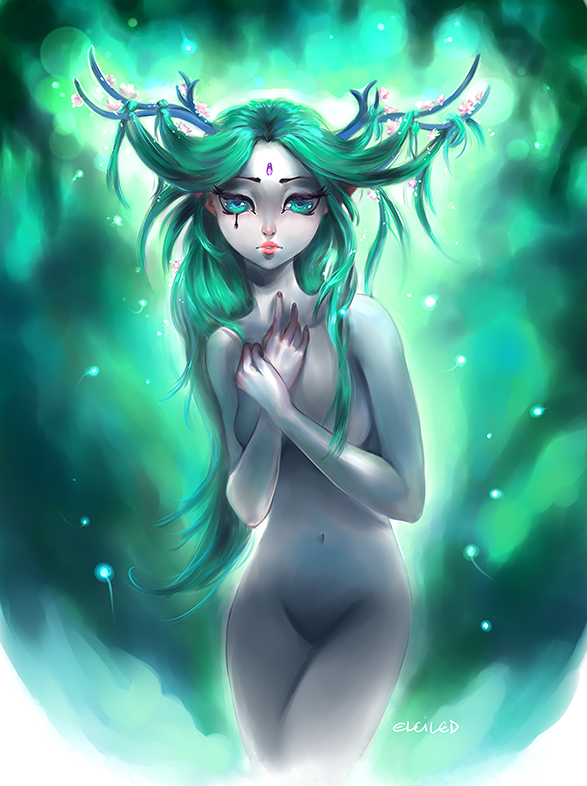 antlers forest green girl sad