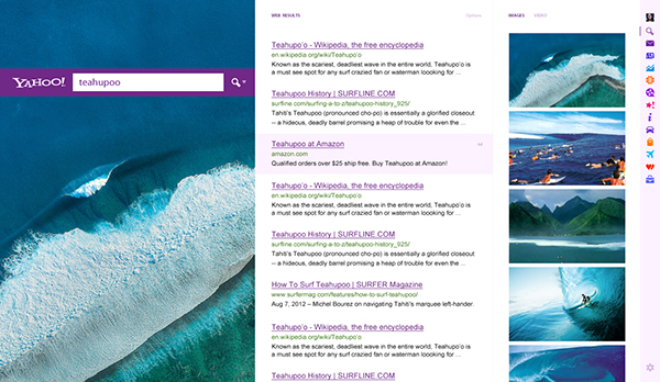 Website Web  Yahoo  homepage  redesign  Concept  Purple  news  Fullscreen  UI  UX  Navigation  search  stock weather