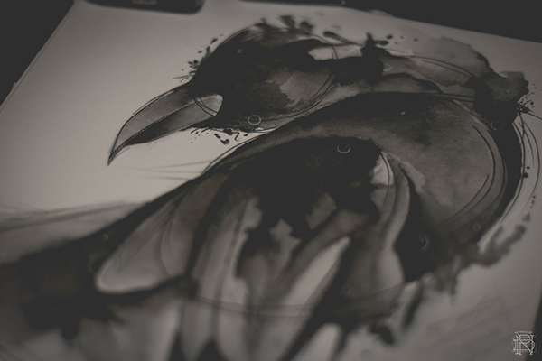 Abstract Crow Watercolor Tattoo On Behance