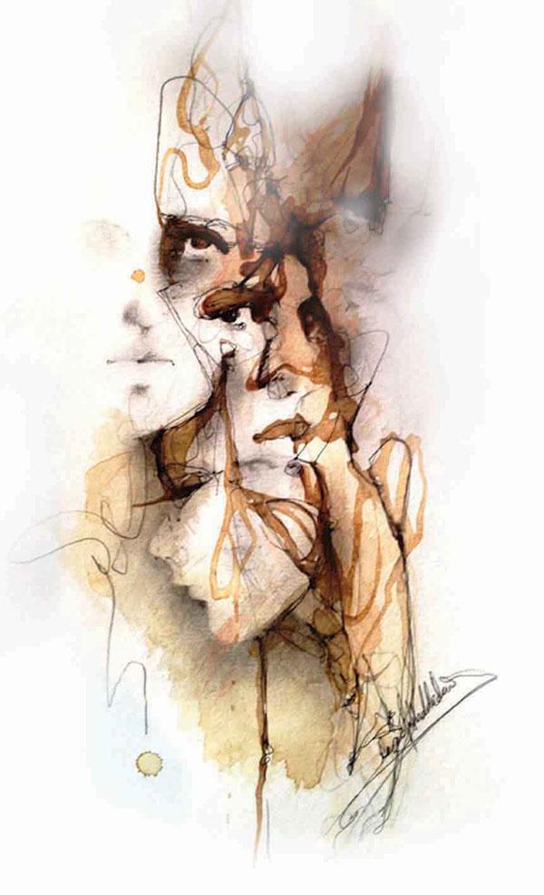 art  human  Faces  figurative art fine art  emotions  women  Female  coffee  ink  watercolour visual art soul illusion mixed media