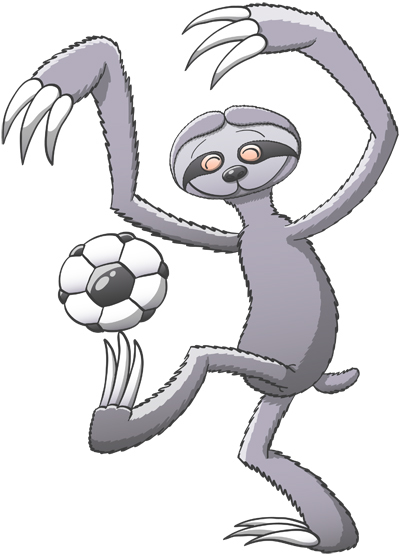 Nice sloth playing soccer and keeping balance with the ball