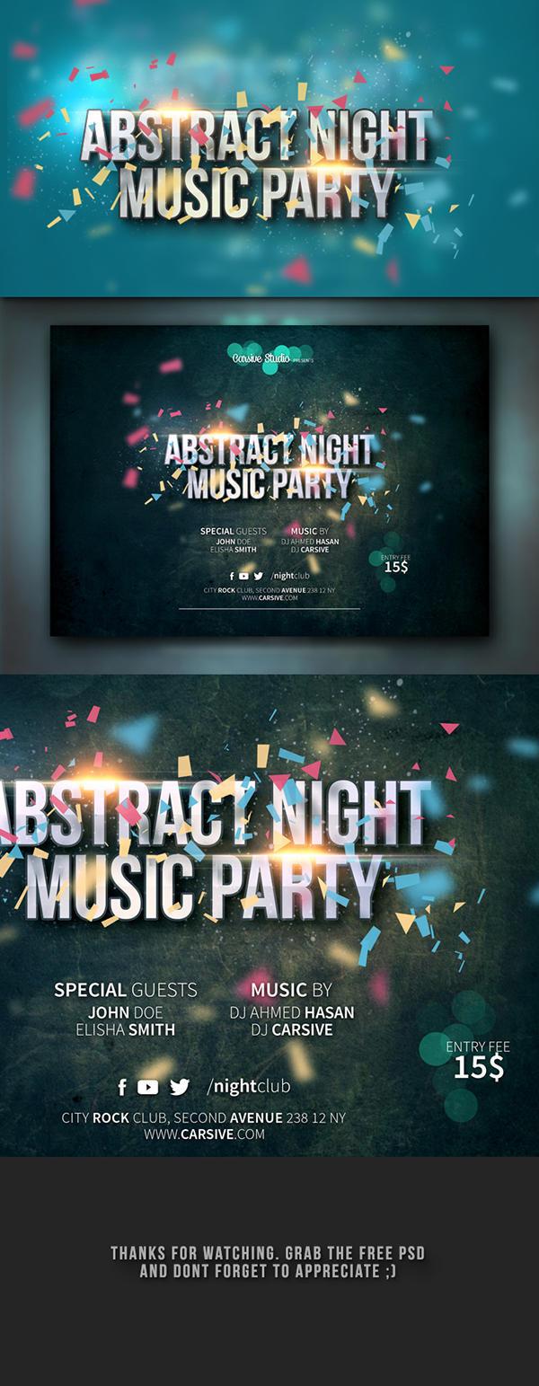 freebie design template party flyer poster photoshop psd free