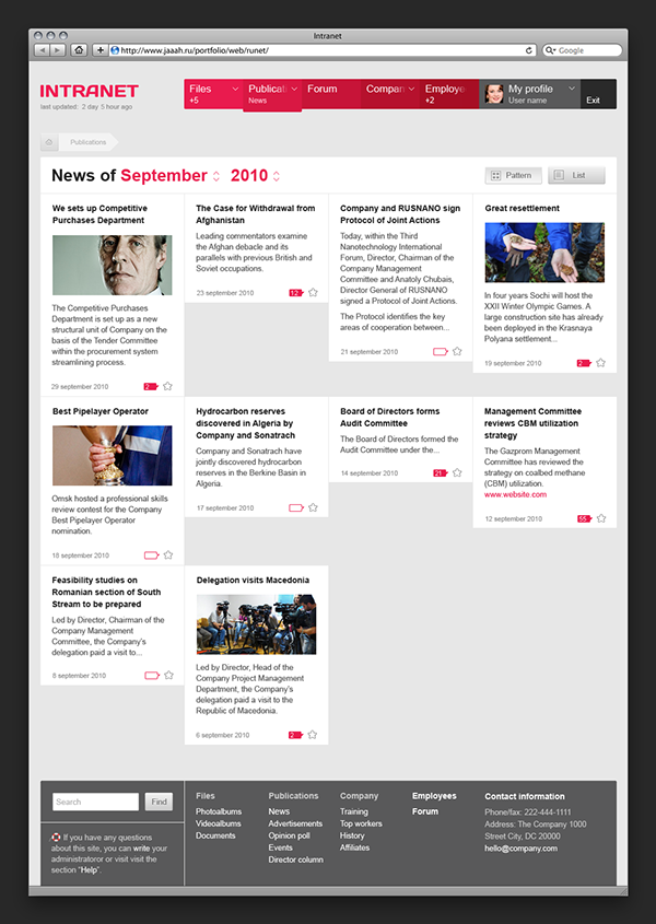 Flexible intranet on behance for News section design