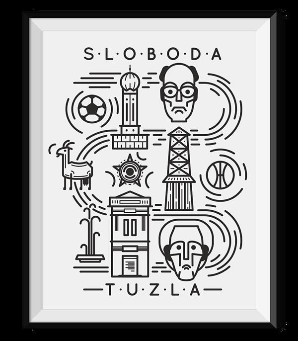sloboda tuzla caffe bar Mural print t-shirt Icon lineart line art elements blackandwhite lines