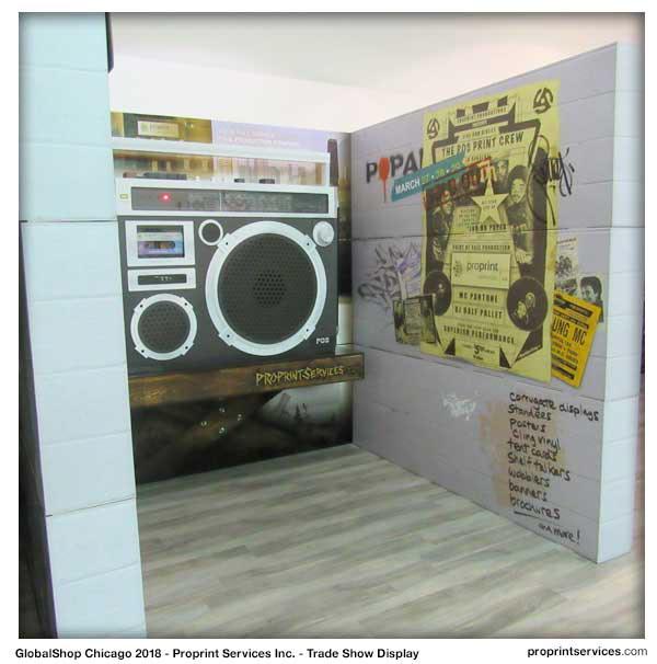 Trade Show replica Retro pos print production Globalshop  Graffiti hip hop tribute vector