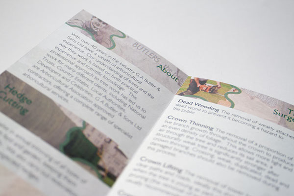 GA Butler & Sons (Tree Surgeons) - services leaflet on Behance
