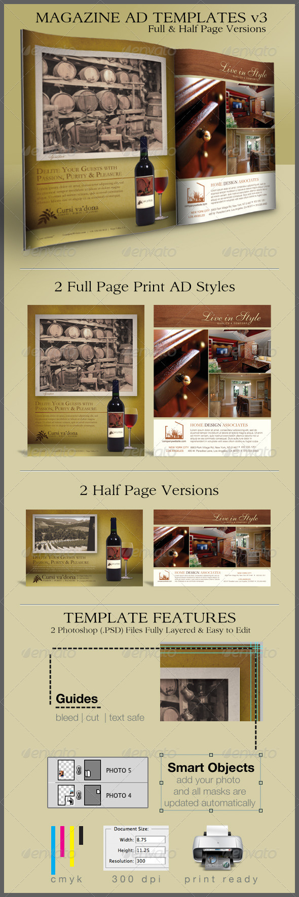 print ad templates and layouts v3 on behance version 3 of the popular print ad templates for full page magazine layouts now half page designs included these 2 photoshop psd templates are