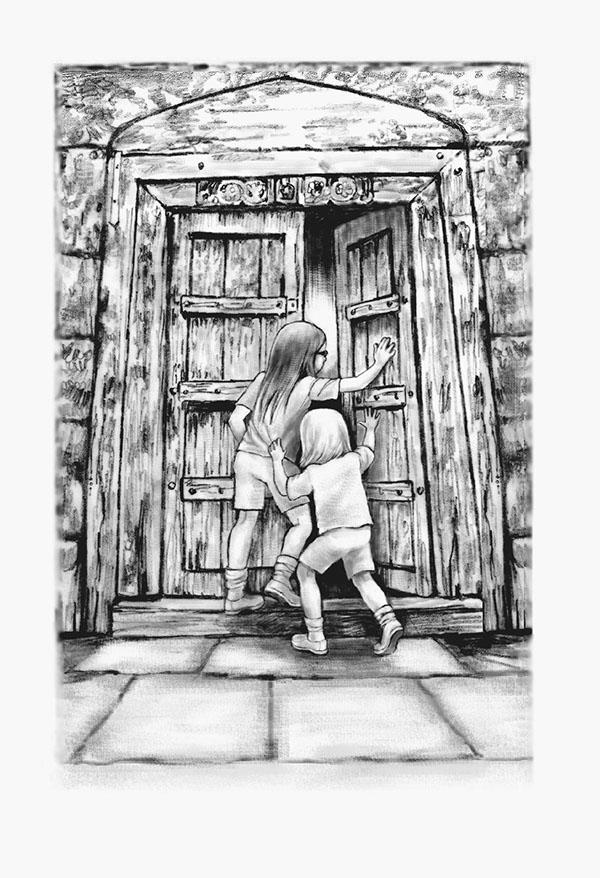 children's book  book illustration mirror children's book illustration Ocean carriage house door treasure key swimming fighting bully book illustration