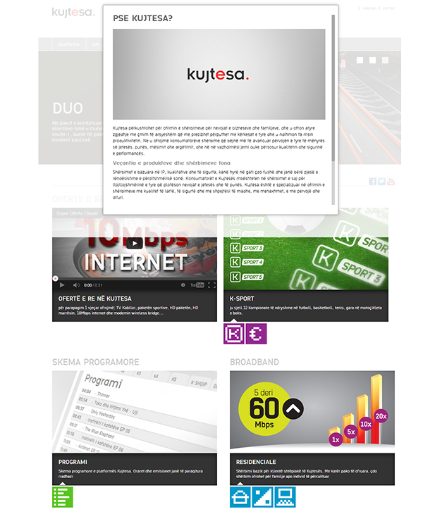 Kujtesa Web development design web page kosovo Internet provider copmany offer shqip