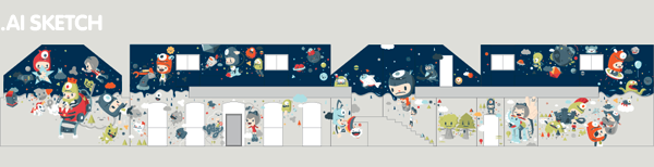bludo,idea house,Mural,children,kindergarden,kawaii,flat,Web,Tomato,louny