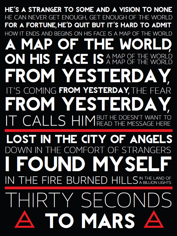 30 Seconds to Mars Lyric Poster on Behance