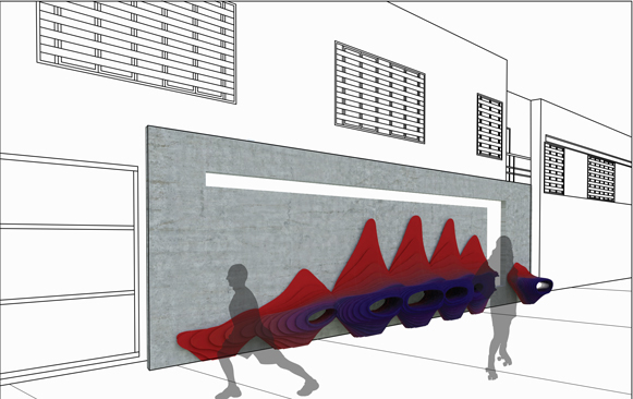 furniture street furniture Mural installation Contour
