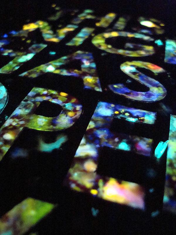 glow sticks light Liquid Lyrics poster quote handmade spray the smiths song paint art neon Glo-In-The-Dark Century Gothic
