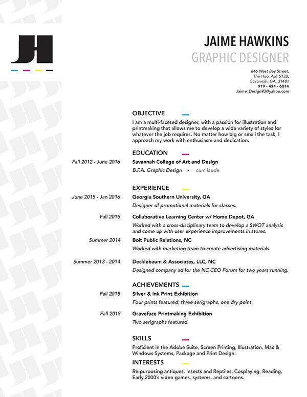 2016 design resume on scad portfolios