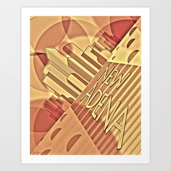 artdeco,retrofuturism,geometric,constructivism,golden yellow,textured