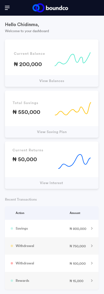 Dashboard for a savings website