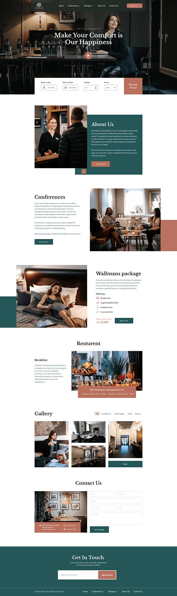 Hotel landing page design