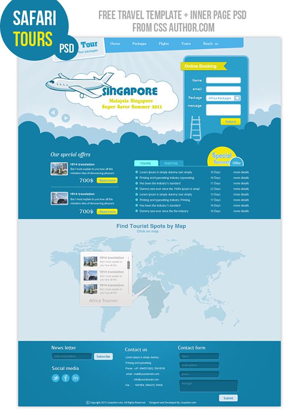 Premium Travel Web design Template PSD on Wacom Gallery