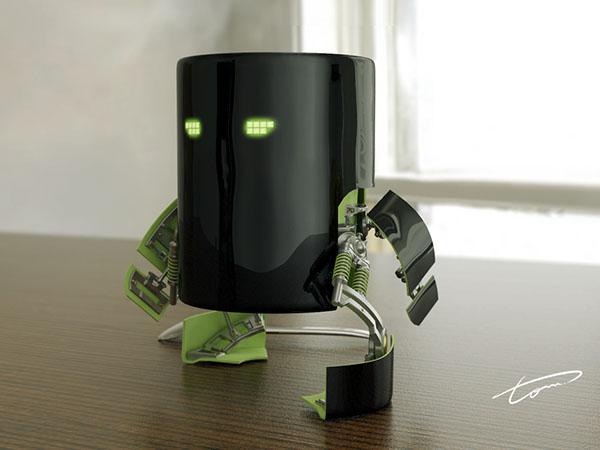 caneca  mug robo cyber cafe coffe 3D
