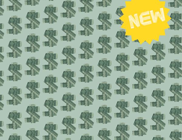 Typeface dollar green money