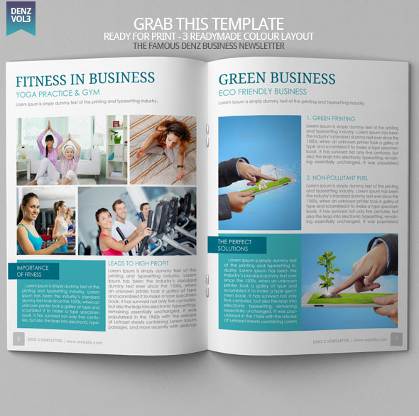 Denz 3 business newsletter template modern design on behance for Modern newsletter design