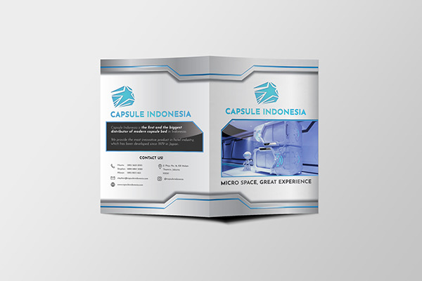 The front side of Capsule Indonesia's brochure or flyer design