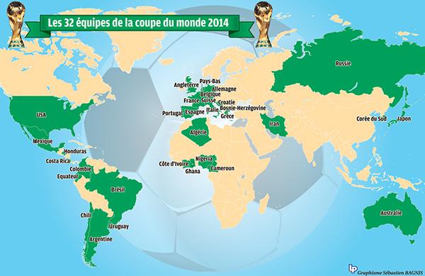 Les 32 quipes qualifi s pour la coupe du monde 2014 on - Pays qualifies pour la coupe du monde ...