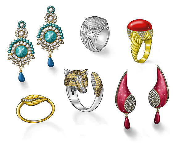 watch shoes ring jewelry sketches rendering earrings