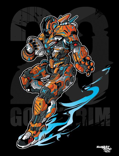 vector subjektzero machine robot Rugby sports futuristic orange xtreme