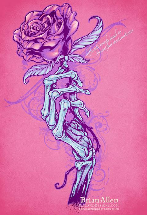 Hand Drawings Roses And Skulls: Skeleton Hand Holding Rose T-Shirt Design On Behance