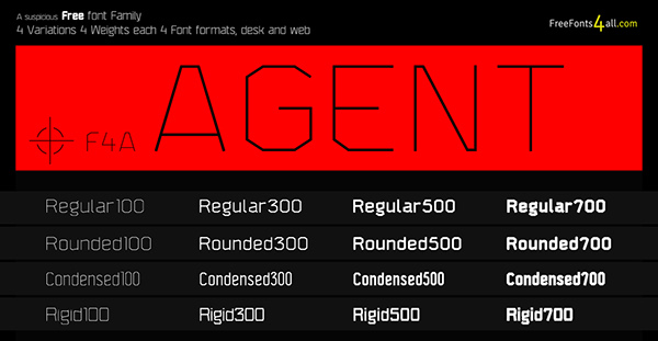 AGENT - New FREE font FAMILY  16 Styles! on Behance
