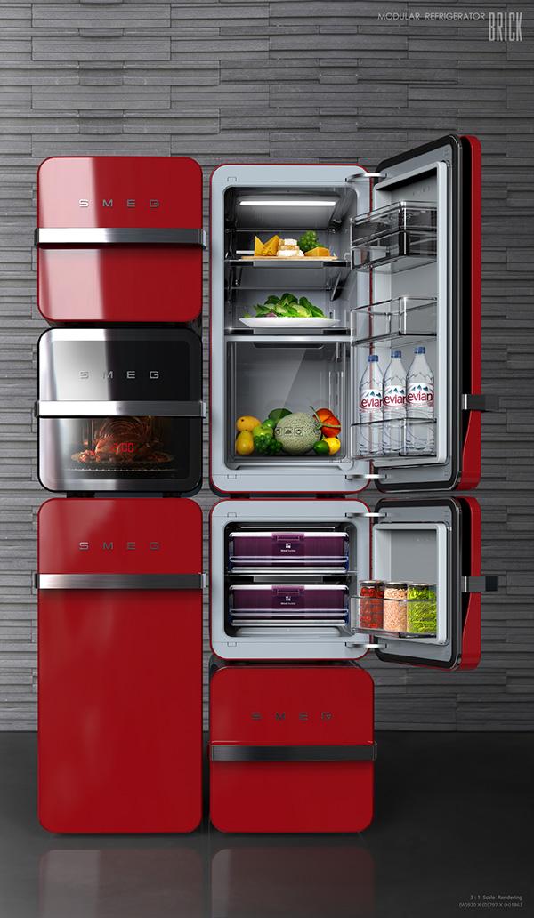 refrigerator module Modular Refrigerator home kitchen cook Interior brick Collection block