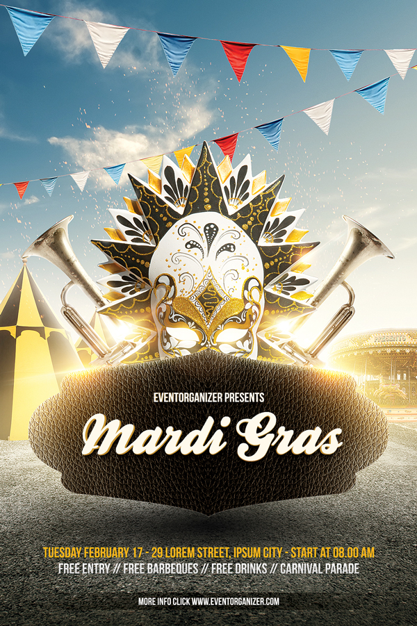 Mardi Gras Carnival Flyer Template On Behance