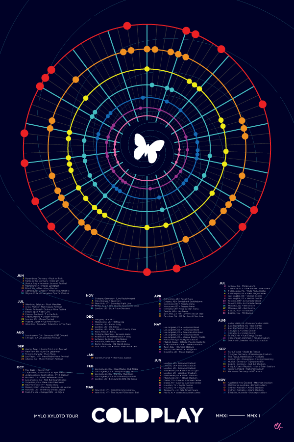 Calendar Head Design : Coldplay mylo xyloto tour calendar on behance