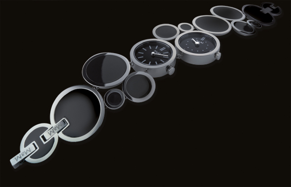 watch watch design separate time jewelry bracelet flow dots twomovements easy steel Armbanduhr