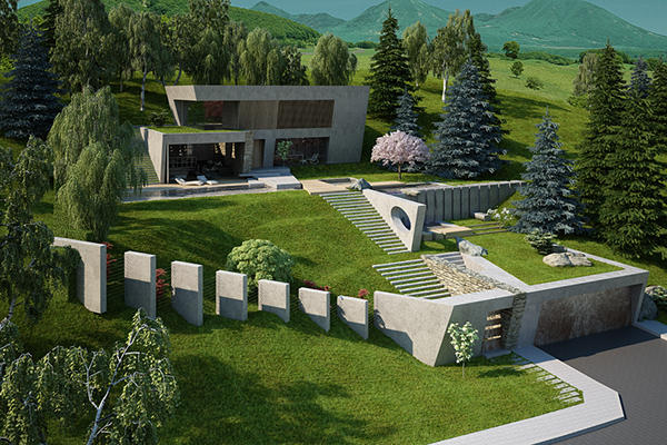 house garden on a steep terrain on behance